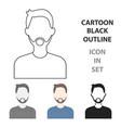 man with beard icon cartoon single avatarpeaople vector image
