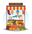 Market counter or stand with fruits and vegetables vector image