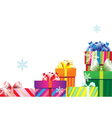 Pile of christmas gift boxes vector image