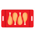 Roasted Chicken In A Red Tray vector image