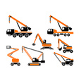 Set of heavy construction machines vector image