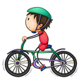 Boy and bicycle vector image