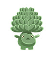 cute cactus with frightened face cartoon vector image vector image