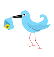 Blue Paper Bird with Email Envelope vector image vector image