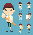 Set of boy and paintbrush vector image