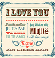 A of I love you word in different languages vector image