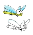 Funny cartoon green dragonfly insect vector image