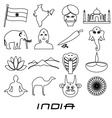 india country outline theme symbols set eps10 vector image