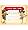 Adventure award with two children background vector image