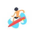 Guy On Red Surfboard From Behind vector image