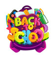 back to school isolated emblem vector image