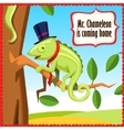 Chameleon cartoon funny animal vector image