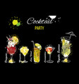 cocktail party set template for vector image