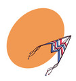 flying paper plane doodle kite with space for text vector image