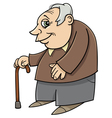 senior with cane cartoon vector image