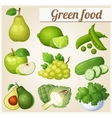 Set of cartoon food icons Green food Pear lime vector image