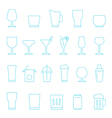 Thin lines icon set - glass and beverage vector image