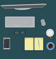 top view office table workspace organization vector image
