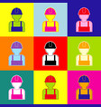 worker sign pop-art style colorful icons vector image