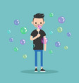 young character blowing soap bubbles flat vector image