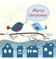 Card with birds for Merry Christmas vector image