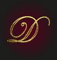 d golden letter vector image