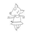 cheerful pig ballerinae cartoon happy vector image