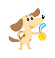 cute little dog puppy character champion holding vector image