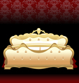 Golden royal bed flat style over red background Di vector image