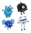 Set of four cute furry monster isolated vector image