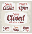 Retro Vintage Open Closed Sign Collection vector image vector image