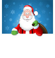 cartoon santa claus over a white blank vector image