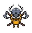 Viking warrior skull and axes logo vector image