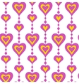 Pink hearts and pearls seamless pattern vector image