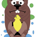 beaver holding in the paws of a goldfish vector image