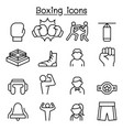 boxing icon set in thin line style vector image