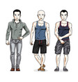 handsome young men posing in stylish casual vector image