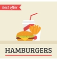 Lunch french fries burger and soda takeaway vector image