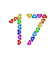 number 17 seventeen from colorful hearts on white vector image