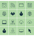 Set of 16 internet icons includes pc program vector image
