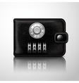 Wallet locked with combination code vector image