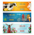 holland travel horizontal banners set vector image