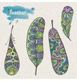 Set of sketch decorative feather vector image vector image