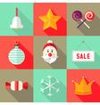 9 Christmas Flat Icons Set 1 vector image