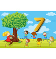 Flashcard number 7 with seven children in the park vector image