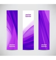 set of abstract wavy purple banners vector image