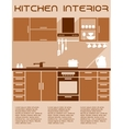 Brown and beige kitchen interior design in flat vector image