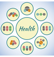 Health card Pharmacy icons set pills and capsules vector image