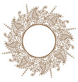 openwork cloth brown round frame brown vector image