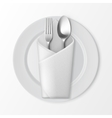 Plate with Silver Fork and Spoon Table Setting vector image
